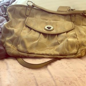 Signature beige coach handbag